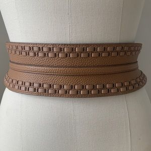 BCBG Max Azria Wide Waist Belt with Tie & Tassels
